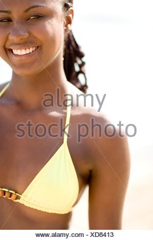 Happy woman wearing a bikini. - Stock Photo