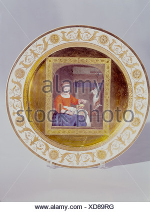 fine arts, porcelain, plate, series with gold plating, 'Cook with rabbit and pheasant', based on Gabriel Metsu (1629 - 1667), Munich 1811, Nymphenburg Porcelain Manufactory, diameter 23.5 cm, Artist's Copyright has not to be cleared - Stock Photo