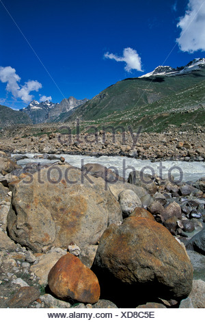 Chandra River near Kunzum La or Kunzum Pass, Lahaus and Spiti district, Himachal Pradesh, Indian Himalayas, North India, India - Stock Photo