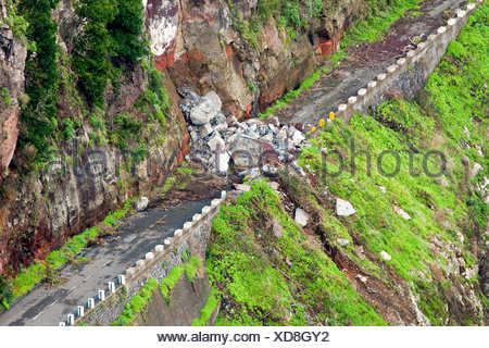 Road blocked by a landslide, Corral of the Nuns or Curral das Freiras, Madeira, Portugal, Europe - Stock Photo