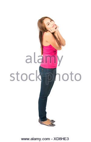 Hands Under Chin Cute Pose Young Asian Girl - Stock Photo