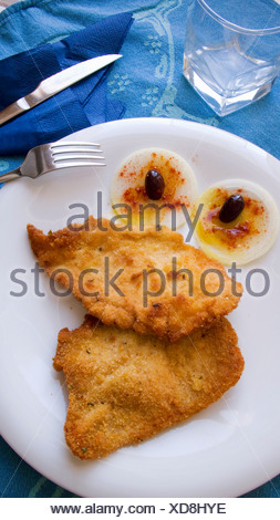 Escalope with onions and marinated olives - Stock Photo