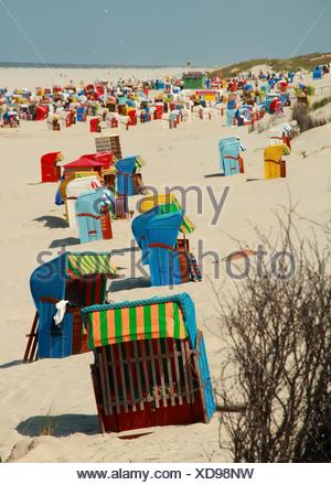 colorful beach chairs on juist - Stock Photo