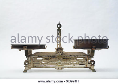 rusty equilibrium scales weigh kilogram old rusty balance equilibrium weigh - Stock Photo