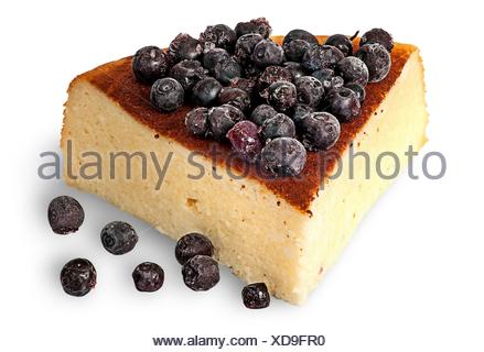 Cottage cheese casserole with frozen blueberries isolated on white background. - Stock Photo