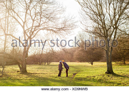 Sweden, Skane, Raa, Couple kissing in field - Stock Photo