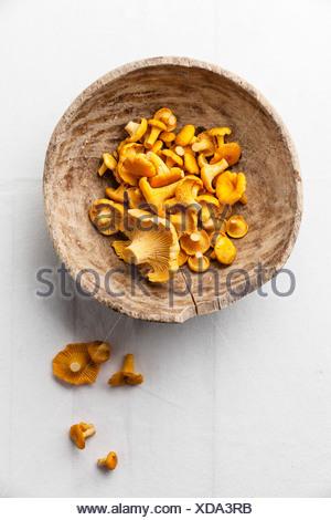 Raw wild mushrooms in wooden bowl - Stock Photo