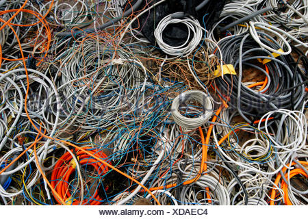 electric cable on a landfill site, Germany - Stock Photo