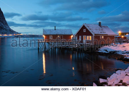 Rorbuer in the Reine fiord, Lofoten Islands, Norway, Europe - Stock Photo