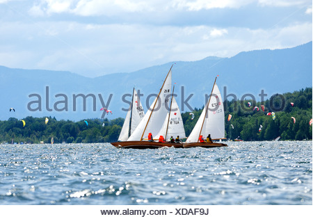 Sail boats on the Starnberger See lake, Upper Bavaria, Bavaria, Germany, Europe - Stock Photo