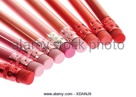 Pencil crayons (colouring pencils) with erasers on the end - Stock Photo