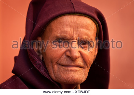 Portrait of an elderly man, Marrakesh, Morocco, Africa - Stock Photo