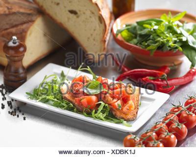 Traditional Italian meal of Bruschetta Pugliese - Stock Photo