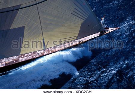 Bowman aboard the J-Class 'Velsheda', Antigua Classics, 1999. - Stock Photo