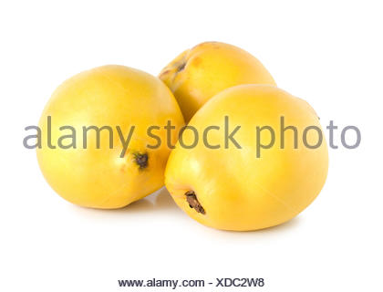 Three quinces isolated on a white background. - Stock Photo