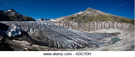 Rhone glacier, 2009, Canton Uri, Switzerland, Europe - Stock Photo