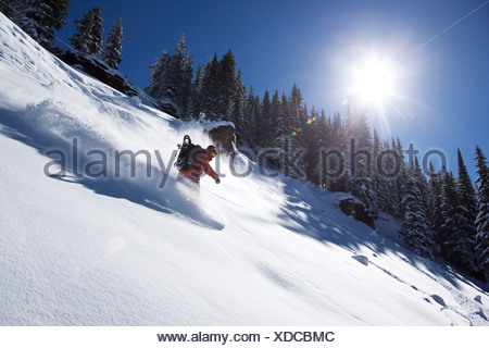 A athletic snowboarder rips fresh powder turns on a sunny day in Colorado. - Stock Photo