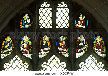 Wiggenhall St. Mary Magdalene, Norfolk, St. Callistus, Hilary, Britius, Aldhelm, Sixtus, Sampson, Germanus, Cuthbert, Britius - Stock Photo