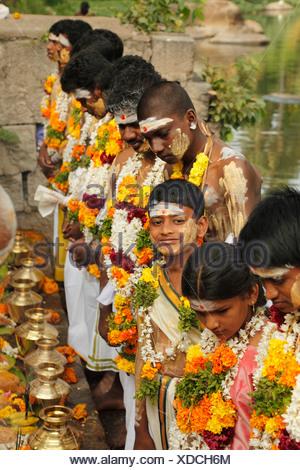 India, South India, Tamil Nadu, People celebrating thaipusam festival in tenkasi - Stock Photo