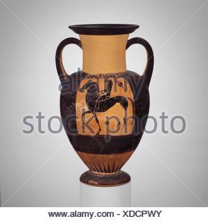 Terracotta neck-amphora (jar). Attributed to the Phineus Painter; Period: Archaic; Date: ca. 540-520 B.C; Culture: Greek, Chalcidian; Medium: - Stock Photo