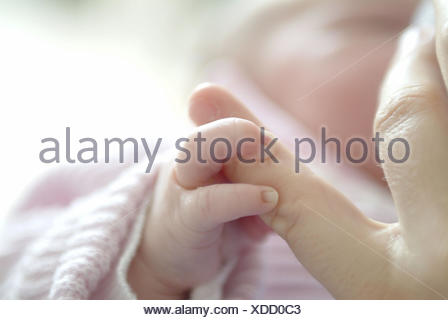 Mother, detail, fingers, baby, touch,  Fuzziness  Arisen, hand, life section, childhood, child, infant, newborn, 5 days, newborn, offspring, clings, affection, trust, concept, familiarity, - Stock Photo