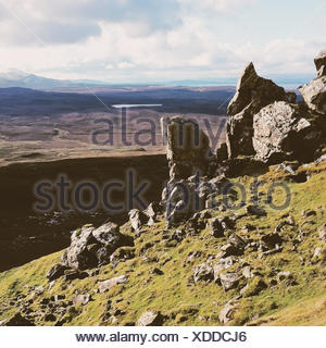 UK, Scotland, Isle of Skye, Landscape seen from Quiraing - Stock Photo