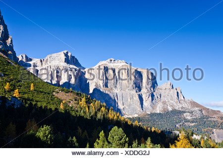 View from Pordoi Pass towards the Sella Group massif, Dolomites, Alto Adige, Italy, Europe - Stock Photo