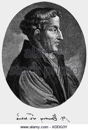 Bucer, Martin, 11.11.1491 - 27.2.1551, German reformer and humanist, portrait, side view, copper engraving by Gerard Valk, 18th century, , Artist's Copyright has not to be cleared - Stock Photo