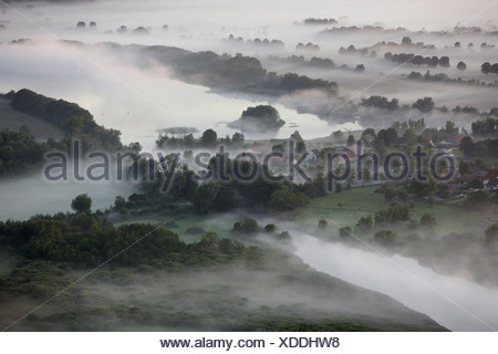 Aerial photograph, River Elde, Lake Kleine Mueritz, Mueritz arm, early morning fog, Mecklenburg Lake District, Rechlin - Stock Photo