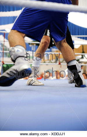 Traditional boxing match in a beer tent at the Volksfest festival in Geretsried, Bavaria, Germany, Europe - Stock Photo