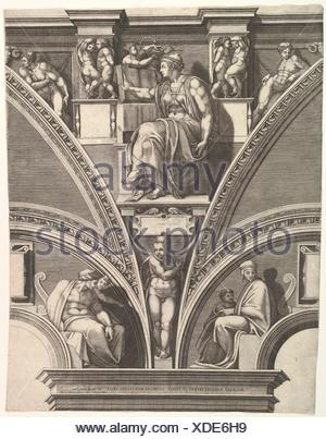 The Eritrean Sibyl; from the series of Prophets and Sibyls in the Sistine Chapel. Artist: Engraved by Giorgio Ghisi (Italian, Mantua ca. 1520-1582 - Stock Photo