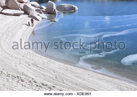 Woman with dog walking along beach and frozen lake, Colorado, America, USA - Stock Photo