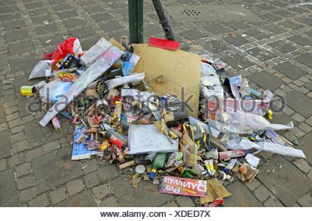 waste of New Year's Eve, Germany, North Rhine-Westphalia, Cologne - Stock Photo