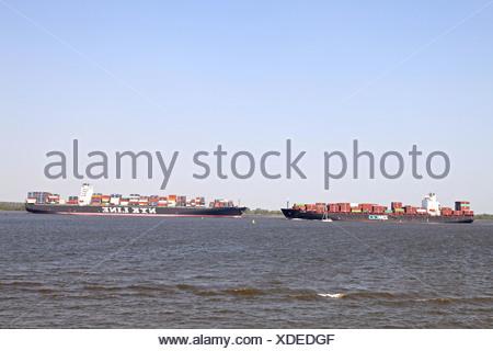 Containership NYK VESTA & ZIM USA - Stock Photo