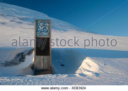 The entrance to the 'Svalbard Global Seed Vault', Longyearbyen, Spitsbergen, Svalbard, Norway, Europe - Stock Photo