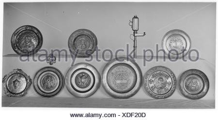 Salver. Date: 18th century; Culture: French; Medium: Pewter; Dimensions: Diameter: 8 1/8 in. (20.6 cm); Classification: Metalwork-Pewter; Credit - Stock Photo