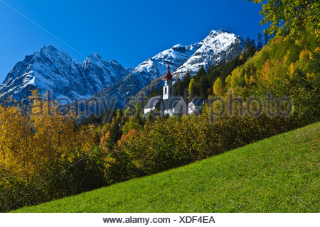 Austria, Europe, Tyrol, Tirol, Kaunertal, Kaltenbrunn, pilgrimage church, Kaunergrat, church, pilgrimage, mountains, Ötztal, Alp - Stock Photo