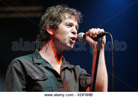 Peter Freudenthaler, singer and frontman of the German pop group Fool's Garden, performing live at Openquer in Zell, Lucerne, S - Stock Photo
