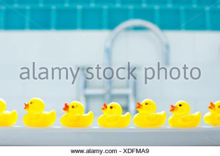 Row of three yellow rubber ducks for bathtime - Stock Photo