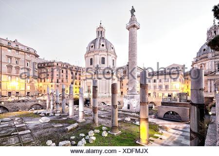 Blue hour, lesson, Foro, capital, Italy, Europe, Piazza Venezia, Rome, Traiano, Trajansforum, twilight, forum Romanum, in the Ev - Stock Photo