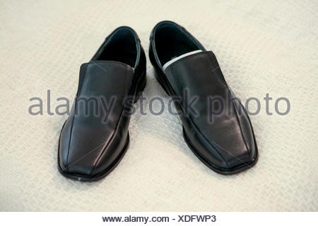 Elegant black leather men's shoes - Stock Photo