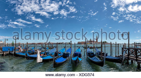 Italy, Europe, Venezia, Venice, Veneto, Isola di San Giorgio, San Giorgio, church, monastery, water, summer, gondola, - Stock Photo