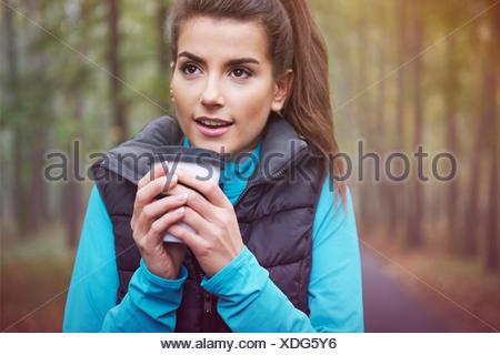 Hot tea is a good idea for a frozen day. Debica, Poland - Stock Photo
