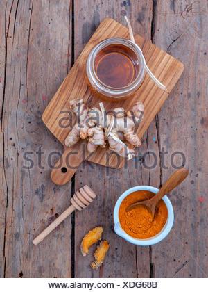 Alternative skin care - Homemade scrubs curcumin powder,honey an - Stock Photo