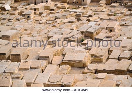 Jewish Cemetery, Mount of Olives, Jerusalem, Israel, Middle East, Southwest Asia - Stock Photo