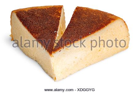 Appetizing two pieces of cheese casserole isolated on white background. - Stock Photo