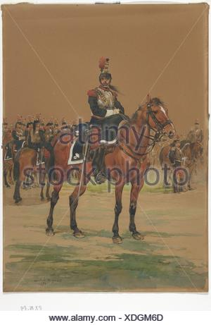 French Cuirassier. Draftsman: Édouard Detaille (French, Paris 1848-1912 Paris); Date: 1872; Medium: Watercolor; Dimensions: Sheet: 13 3/4 x 9 3/4 in. - Stock Photo
