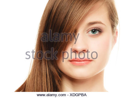 Hairstyle. Portrait of girl with long bang covering eye - Stock Photo