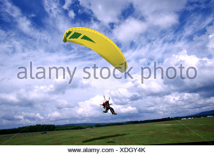 Paraglider landing in field with yellow parafoil - Stock Photo