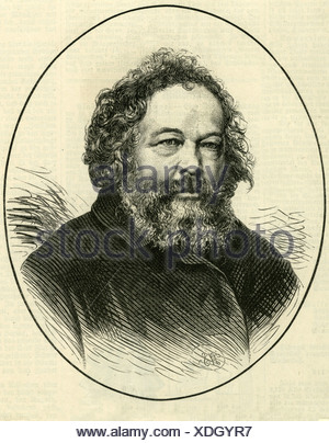 Bakunin, Mikhail Alexandrovich, 18.5.1814 - 1.7.1876, Russian revolutionary, portrait, engraving, 1876, , Additional-Rights-Clearances-NA - Stock Photo